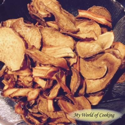 Homemade Chips von Süßkartoffeln und Karotten