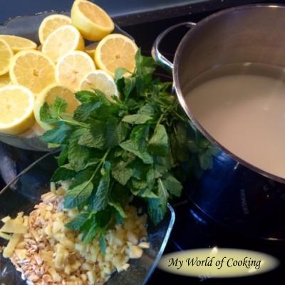 Sommerlicher Zitronensirup mit Minze & Ingwer