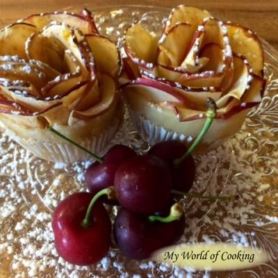 Apfelröschen mit Zimt und Marzipan