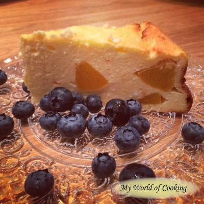 Topfentorte mit Pfirsichen – Cheesecake with peaches