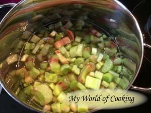 Rhabarber im Zuckerwasser aufkochen