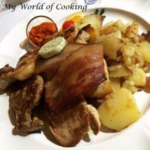 Grillteller mit Bratkartoffeln