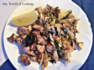 Octopus-Salat & gebratene Sardellen