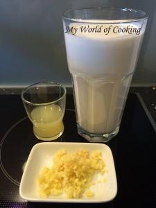 Kokosmilch, Limettensaft, Ingwer