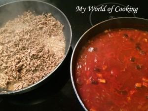 links: Faschiertes rechts: Tomatensauce