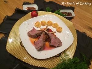 Lammkronen auf Ratatouille und Herzogin Kartoffeln