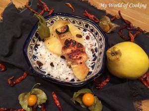 Ananascurry Spießchen auf Basmatireis