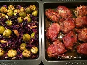 Schweinemedaillons mit Kohlsprossen-Rotkraut Gemüse