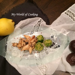 knusprige Hühnerfilets mit Seitlingen & Petersilienkartoffeln