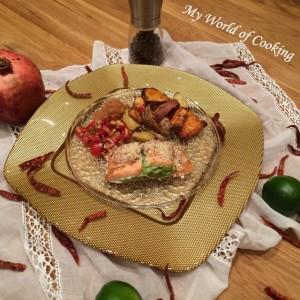 Lachsfilet mit Avocadofüllung, Ofenkartoffeln, Tomaten-Salsa und Apfel-Chili-Marmelade