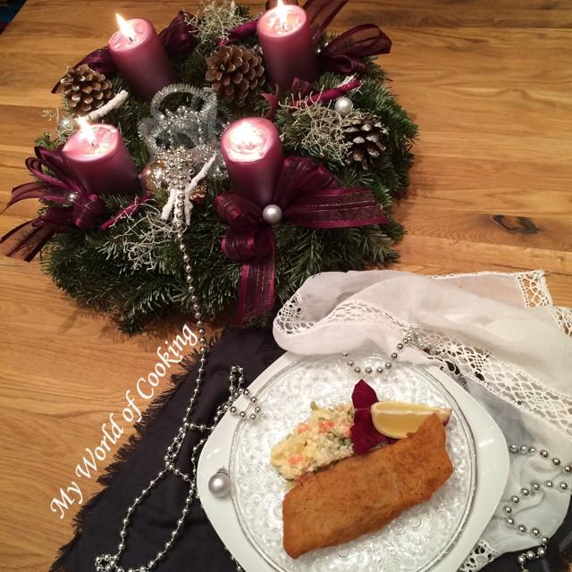 Französischer Gemüse Mayonnaise Salat Und Weihnachtsfeiertage Ohne