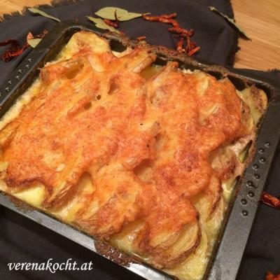 easy Kartoffelgratin mit Bergkäse (oder) Wie Teamwork ein tolles Abendessen kreiert