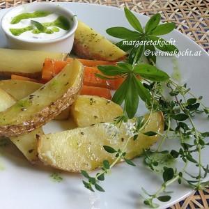 Variation vom Ofengemüse mit easy Kräuter-Dip