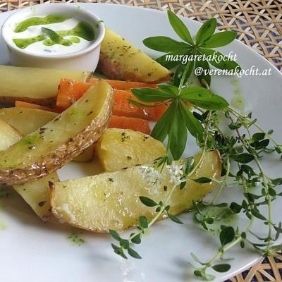 Variation vom Ofengemüse mit easy Kräuter-Dip (oder) Die erdigen Allrounder neu & easy interpretiert
