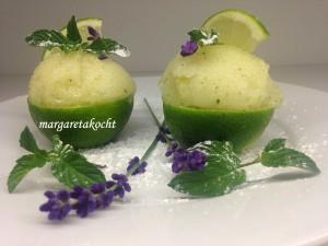 spritzig süßes Limetten Minze Sorbet