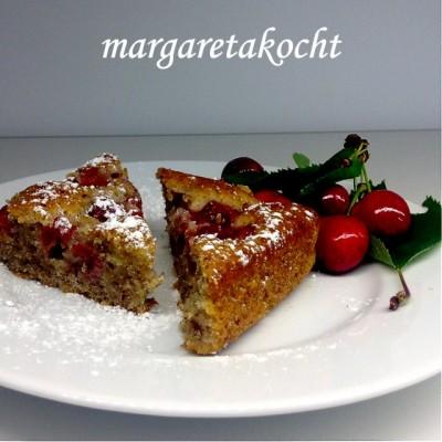 🍒 Blitz-Kirschenkuchen mit Joghurt & Nüssen 🍒 (und) Margareta serviert den Sonntags-Kirsch-Kuchen