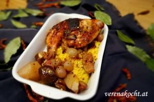 Honig-Huhn mit Feigen & Weintrauben