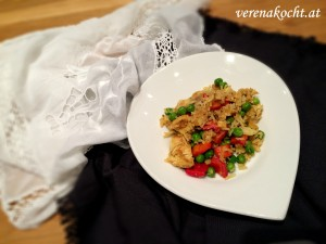 bunte Reispfanne mit Bio-Huhn
