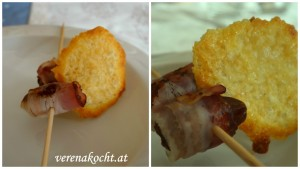 Dattel im Speckmantel auf fruchtiger Kürbiscremesuppe mit Parmesan-Chips