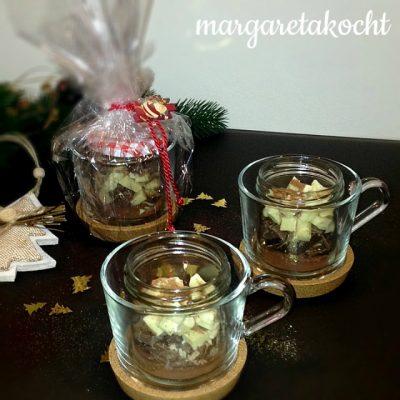 Weihnachtlich Heiße Schokolade im Glas (oder) Margaretas Last-Minute-Geschenk