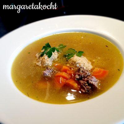 Haferflocken Nockerln für eine gesunde Suppe (oder) Margaretas Nockerln in R.s kräftiger Rindssuppe
