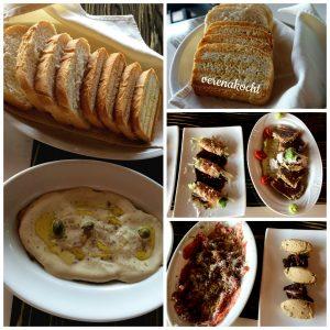 home-made Brot, Vitello Tonnato, marinierter Thunfisch, Roastbeef-Röllchen, Rinder-Carpaccio & Hühnerleberpastete mit Trüffel