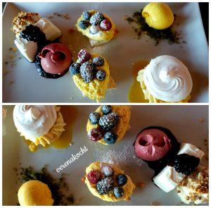 Dessert Variation (08.12.2106) Cheesecake, Khaki-Eis, Tonkabohnen Creme, Waldbeereis, Khaki-Meringue, Khaki-Pudding-Desserts mit frischen Beeren