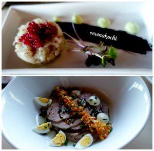 Fisch Carpaccio mit Fischroggen und Wasabi (08.12.2016) saures Rindfleisch mit Möhen-Gemüse und Wachteleiern (25.12.2016)