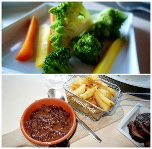 Beilagen zum gegrillten Fleisch (25.12.2016) oben: blanchiertes Gemüse unten: Chili sin Carne & home-made Potato Fries