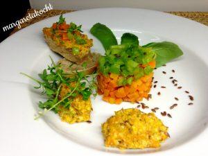 Karotten-Sellerie-Tatar mit Karotten-Leinsamen-Aufstrich