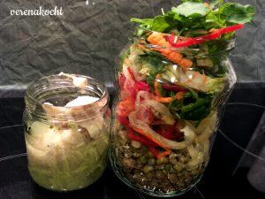 Mungobohnen - Paprika - Karotte - Salat Dressing: Joghurt - Humus