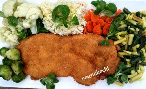 Cordon Bleu mit Reis & Gemüse