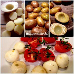 mit Mozzarella & Tomaten gefüllte Kartoffeln