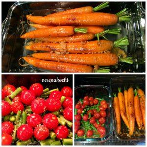 oben: karamellisierte Tomaten unten links: Tomaten & Fisolen im Ofen geschmort