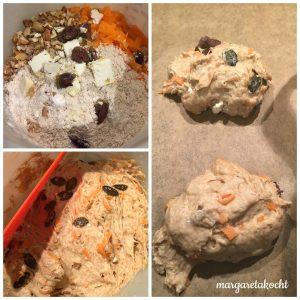 Fladen-Brötchen mit Karotte, Olive & Walnüssen