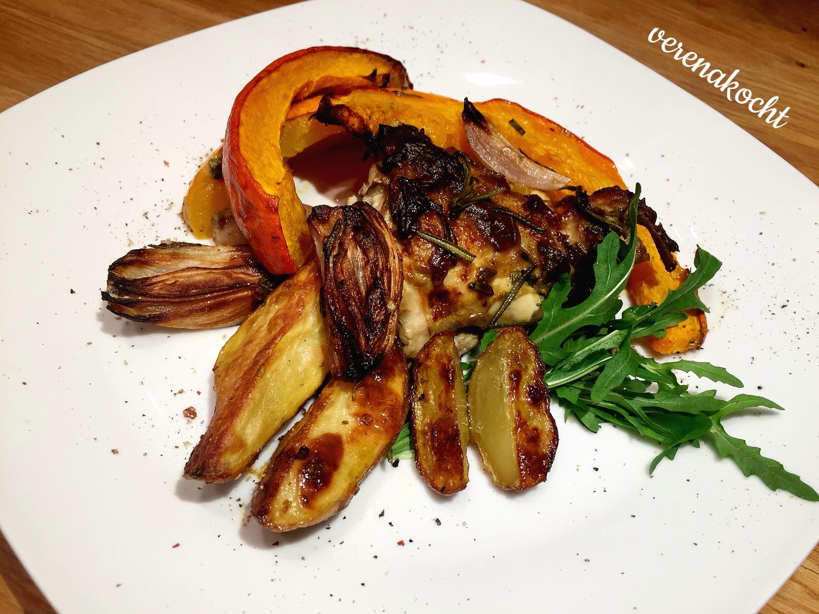 Senf Rosmarin Hühnchen mit Kürbis und Rosmarin-Kartoffeln (oder) Welcome Back!