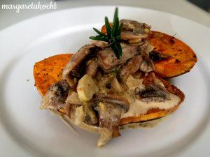 heimisches Süßkartoffeln mit Champignonsauce