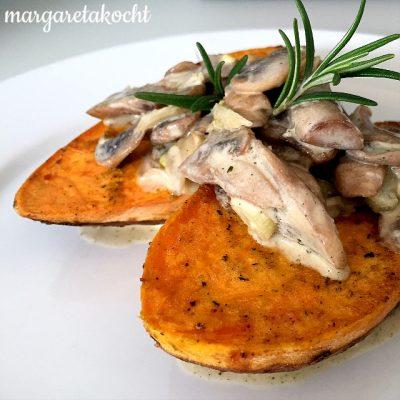 heimische Süßkartoffeln mit Champignonsauce (oder) Ein Koffer voller Eindrücke, Trends & Ideen