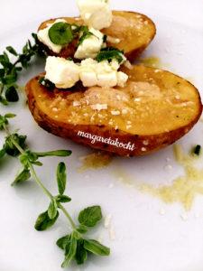 überbackene Ofenkartoffeln mit Schafkäse