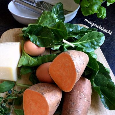 überbackener Süßkartoffel Spinat Auflauf (und) Margareta begrüßt den Herbst