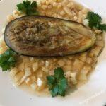 gebratene Melanzani auf Sellerie Sauce