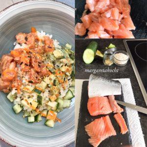 köstliche Sushi Bowl mit Lachs (und) was hier Thema ist!