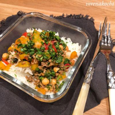 """Reispfanne """"Arabian Style"""" mit Kichererbsen (und) ab zum Familienurlaub"""