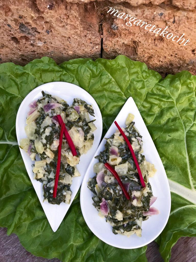 Mangold Gemüse mit Ricotta