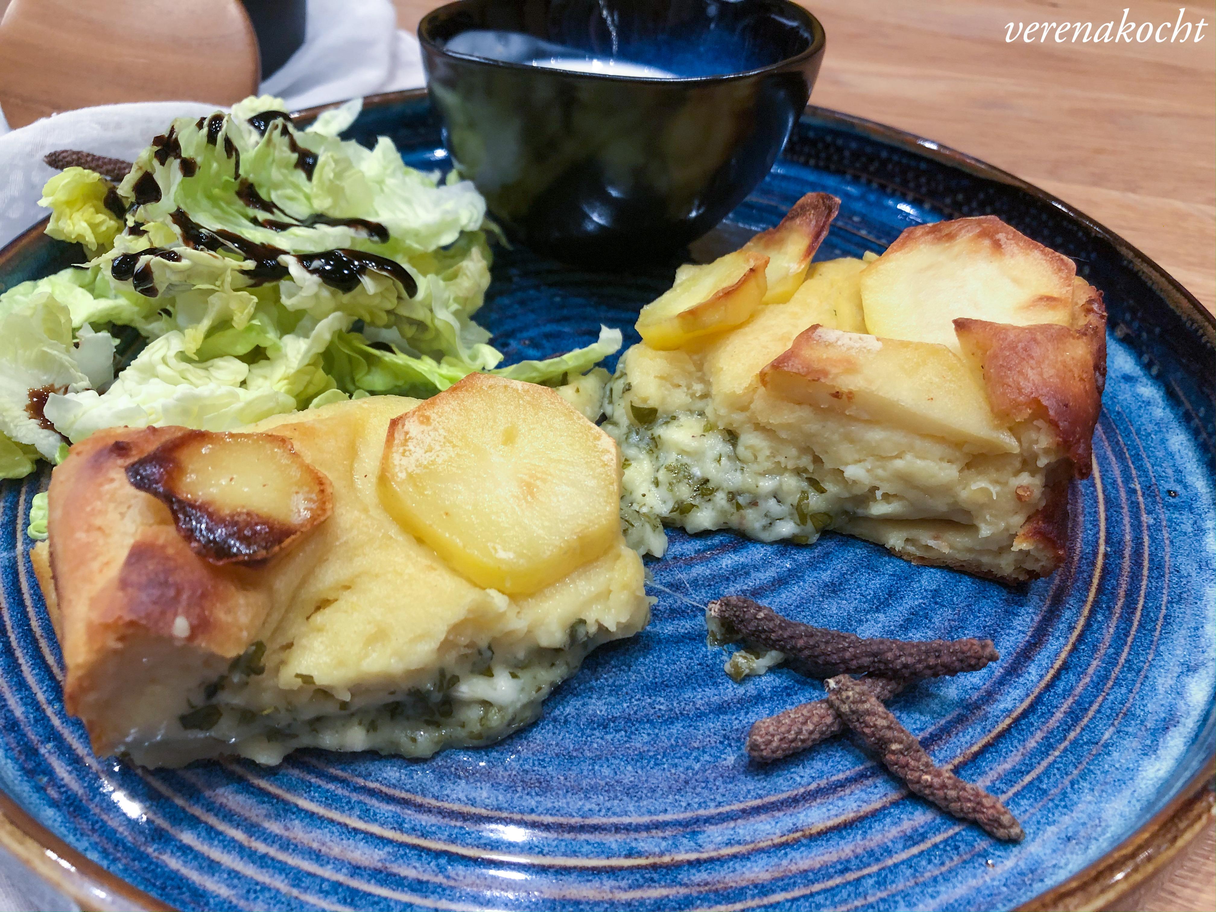 Kartoffelbraten mit Käse-Kräuter-Fülle