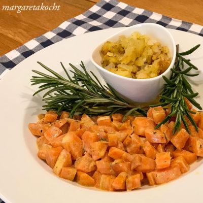 Rosmarin Karotten mit Rösti (und) ein schnelles (Fasten)Gericht