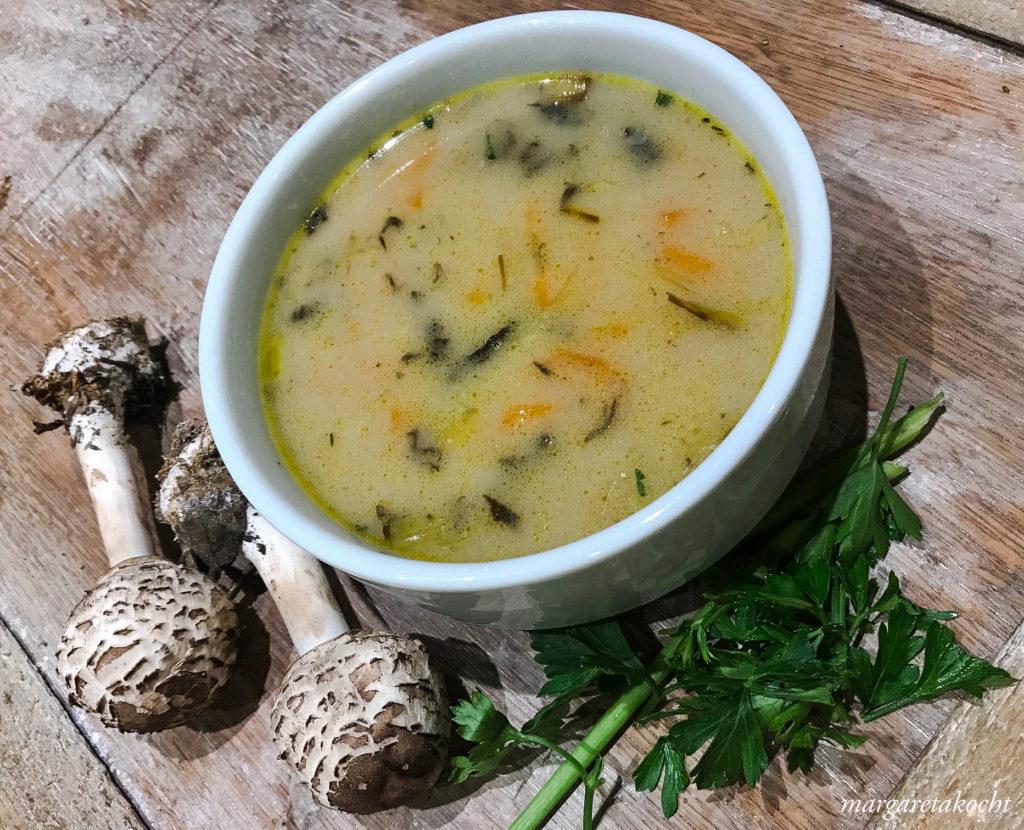 cremige Suppe vom Parasol