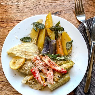 Fenchel Paprika Gratin mit Ofenkartoffeln (oder) Segen oder Fluch?