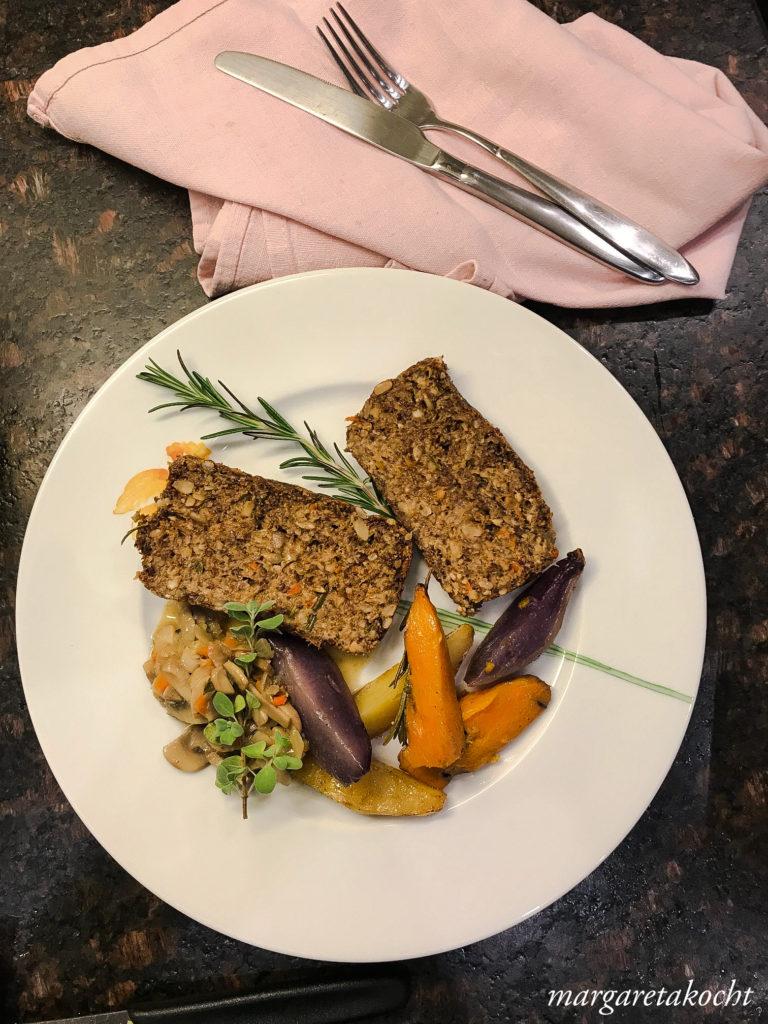 veganer Getreide Nuss Braten