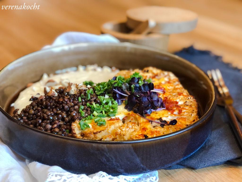 Karfiol Steaks mit Zitronenlinsen und Bohnen Karfiol Püree